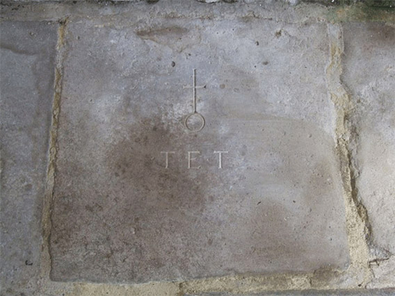 A stone marking the place of rest of the Rev T Tanner
