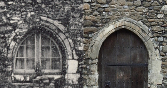 Two views of the front door of the Chapel