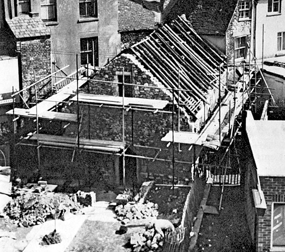 Overhead view of Chapel during restoration