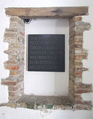 Plaque dedicated to Rev T Tanner